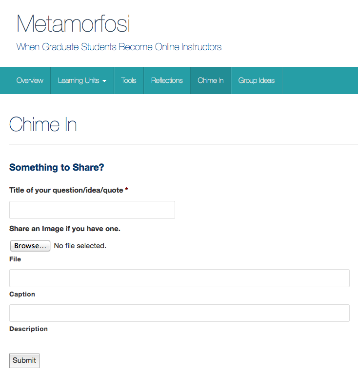 Metamorfosi website: Screenshot of Chime In page