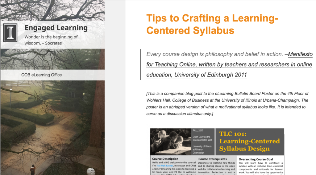 "A blog site for instructors in higher education. Website has a left navigation panel with an image of a University of Illinois landscape and a blogpost on the right entitled ""Tips to Crafting a Learning-Centered Syllabus"""