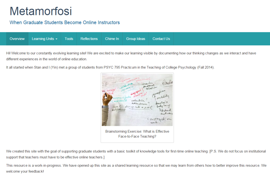 Metamorfosi Web Resource for Graduates New to Online Teaching