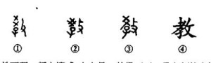 "Versions of Chinese character ""teach"" inscribed on oracle bones"