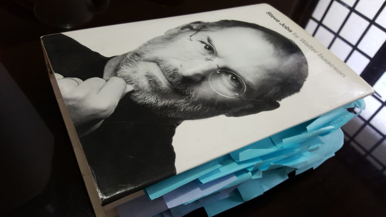 Book cover of Steve Jobs biography by Walter Isaacson. Image is of Jobs in a black turtleneck.