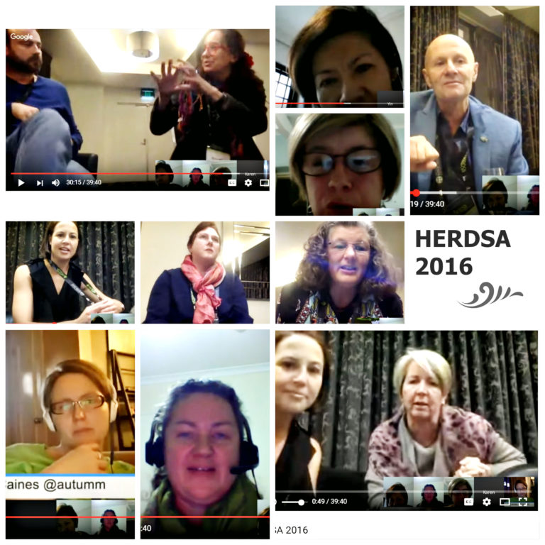 A collage of pictures of 11 participants at the HERDSA virtual conference 2016