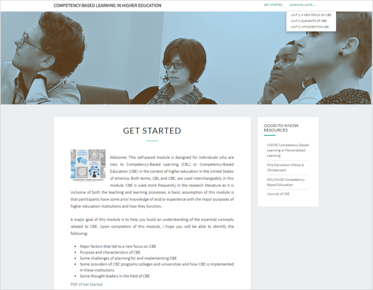 Competency-Based Learning in Higher Education website with a header banner of adult learners, an intro page and a right sidebar