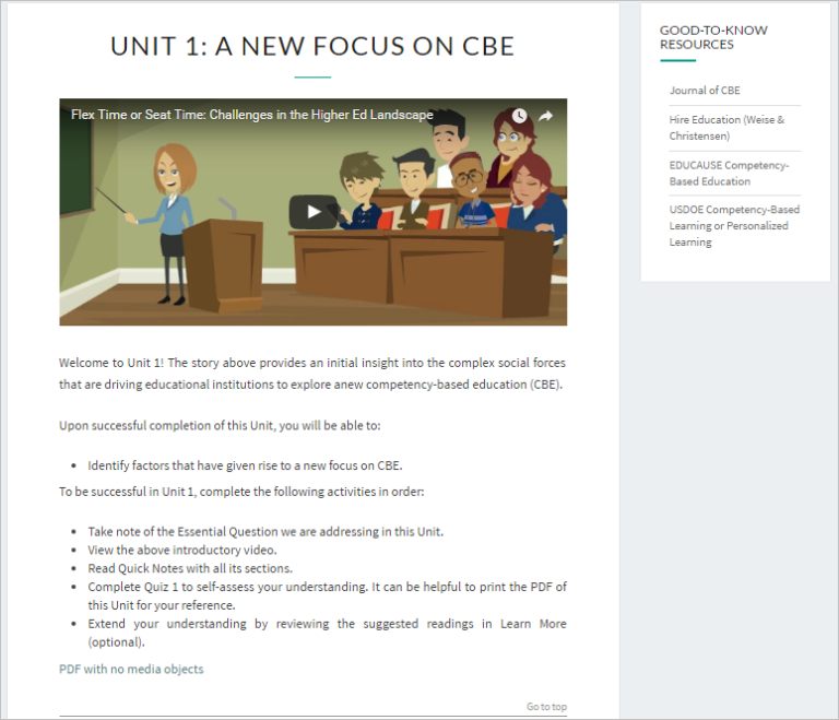 """Unit 1 page with title """"A New Focus on CBE"""" and a sidebar of good-to-know resources"""