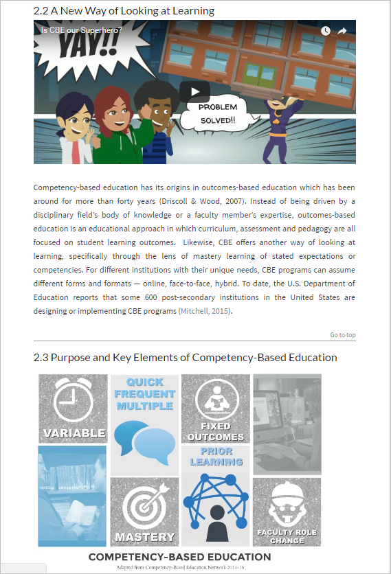Unit 2 section about competency-based learning being a new way of looking at learning, and the next section with an infographic visual