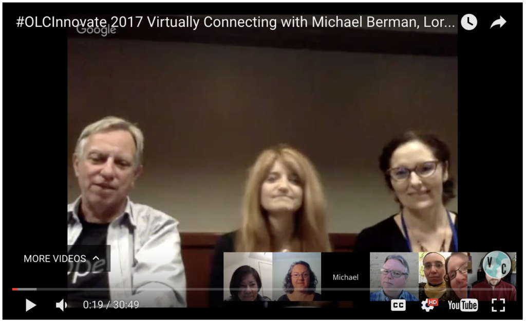 OLC Innovate 2017 April 5 Virtually Connecting session with 3 onsite participants and 5 virtual participants using Google Hangout
